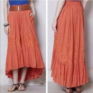 Floreat Anthropologie Sanoh Gauze Skirt Orange